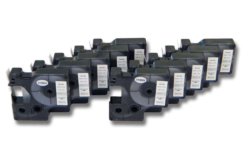 43913 5x DRUCKER SCHRIFTBAND KASSETTE 9mm SCHWARZ-WEIß für DYMO D1